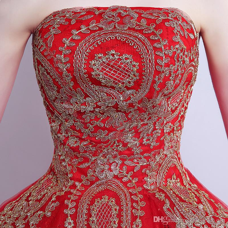 018 New Ball Gown Lace Tulle Red Wedding Dress with Tail Chinese Pattern Style Cheap China Embroidery Bridal Gown