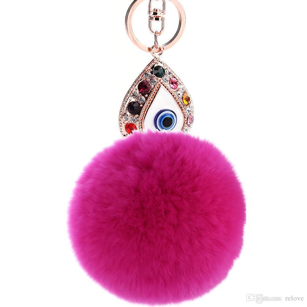 Girl Women Rabbit hair Fur Ball Keychain Water drops eyes Girl Handbag Accessories Car Key Chain For Bag 20pcs free shippin