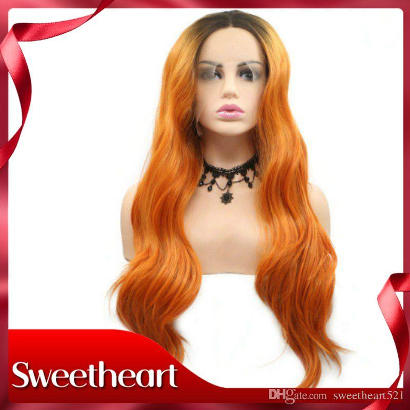 """Sweetheart Synthetic Lace Front Wigs Kanekalon Heat Resistant Body Wave Hair Orange Ombre Dark Roots 24"""" Long Makeup Lace Wavy Cosplay Hair"""