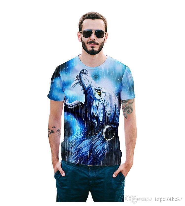 NEUE Männer 3D Tier 3D T-Shirt beiläufige T-Shirt Männer Kleidung Muster Tiger Wolf NEUE Heiße Hip Hop T-Shirt Männer Mens Hip Hop Teen tragen