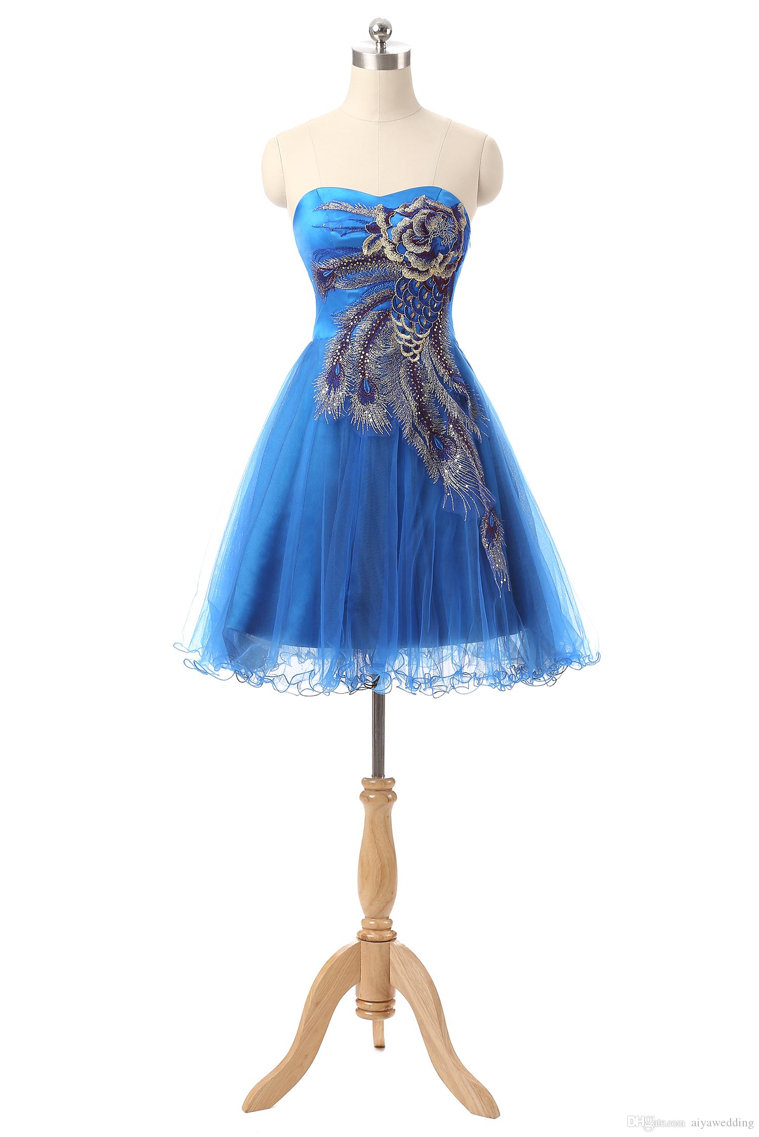 2019 Homecoming Dresses Sweetheart Embroidery Sequin A Line Formal Party Dresses Royal Blue Lace Up Dresses