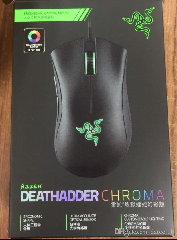 OEM Razer DeathAdder Elite Chroma Multi-Color Ergonomic Gaming USB Wired Mouse