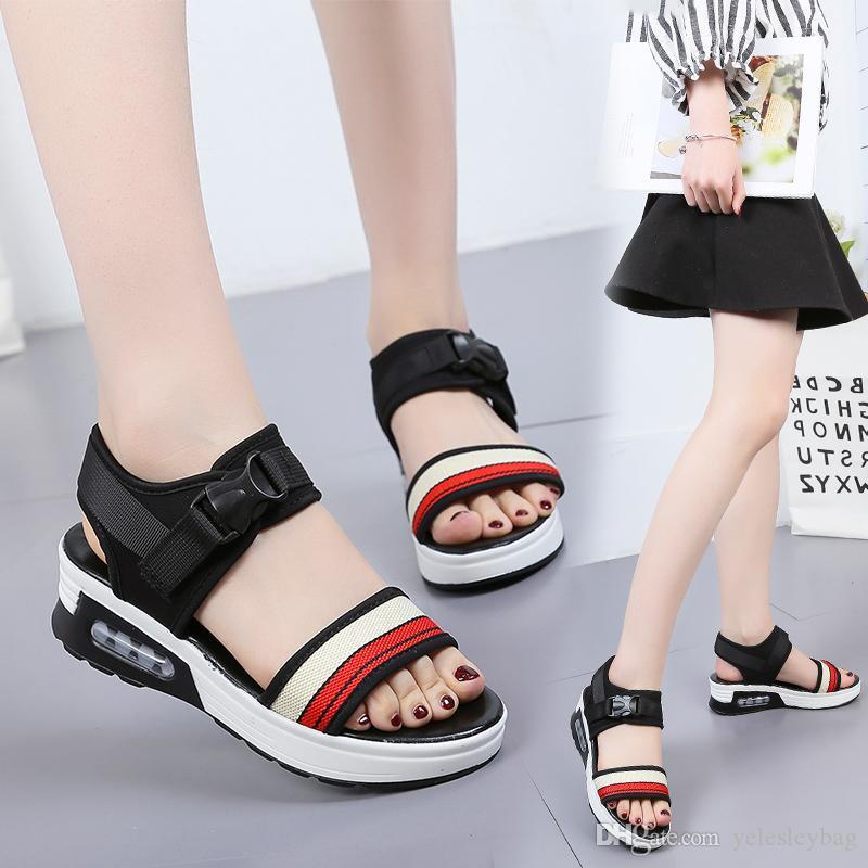 Sandali con zeppa donna con sandali con fibbia infradito Scarpe basse con plateau Scarpe da spiaggia sandali casual sandali spessi
