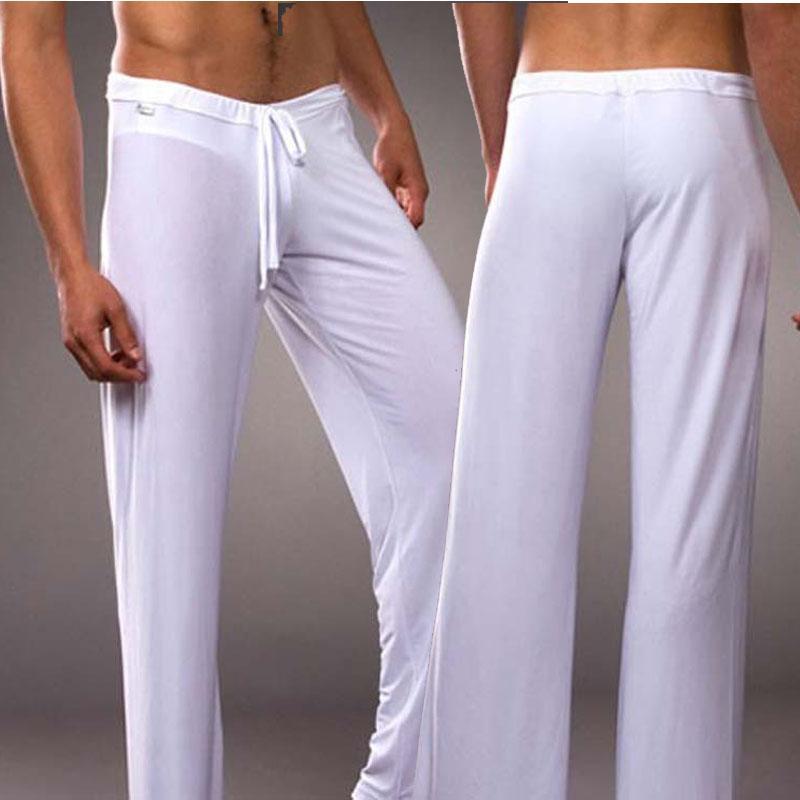 Ropa para el hogar de los hombres de la sección delgada de seda de seda suave sedoso vestido de baile sexy pantalones calientes ocasionales sueltos pantalones atractivos ropa de dormir K82