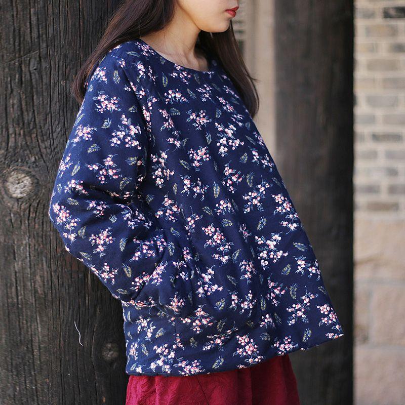 Оптовая продажа женщин принт цветочные пуловеры парки винтажная одежда 2018 осень новый о-образным вырезом с длинным рукавом свободные случайные теплые женские пальто
