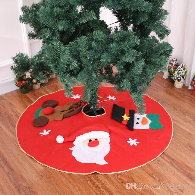 100cm embrodiery Noël tapis bonhomme de neige de l'article de l'arbre Père Noël sol couvert de tapis décorations pour arbres de Noël maison de décorations de Noël