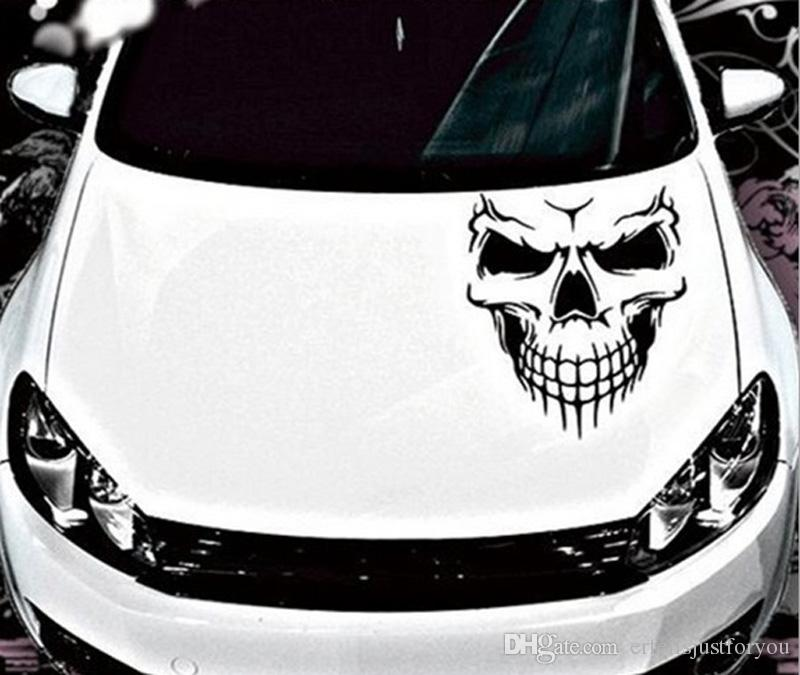 30*27cm Black/White Skull Hood Decal Vinyl ilms FLarge Graphic Sticker Car Truck Window Body Fit For Universal Car VW BMW Audi Honda Civic