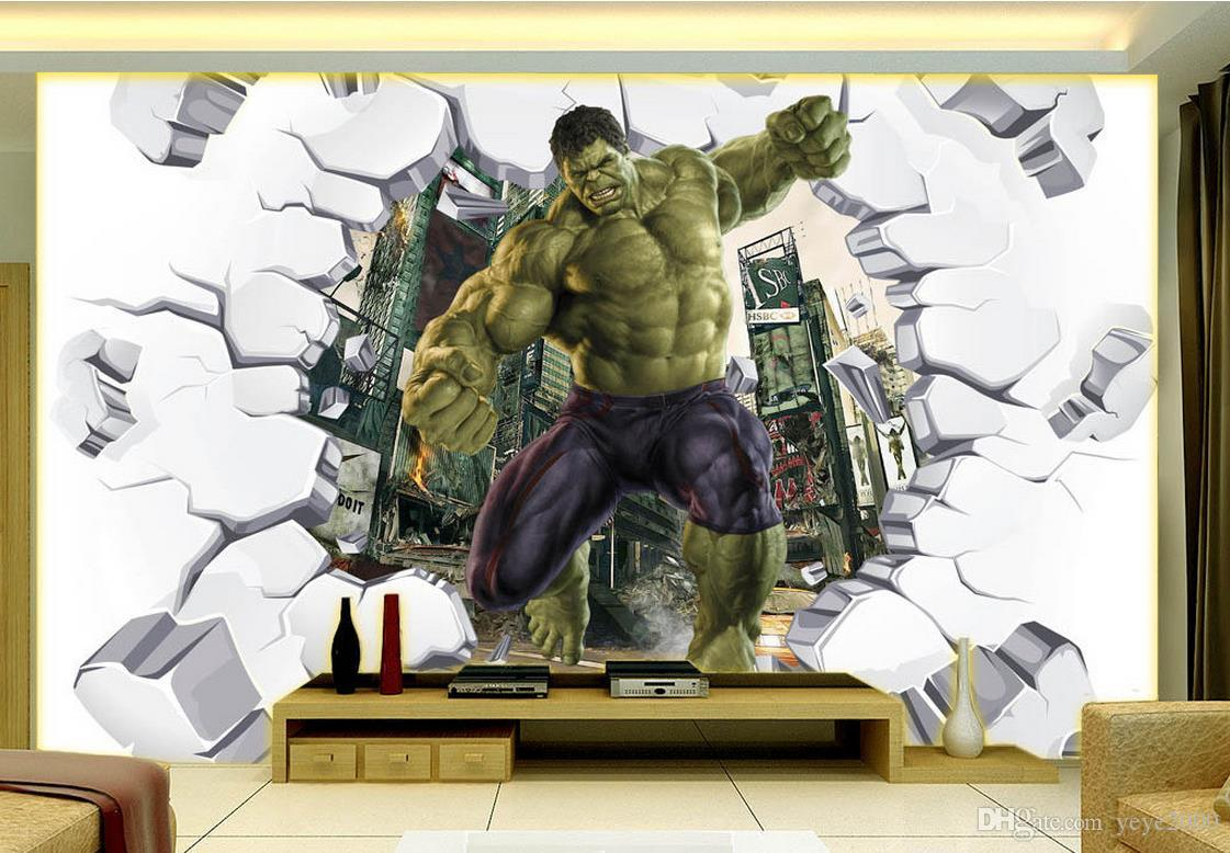 Wallpapers For Living Room 3D Solid Hulk Broken Into The Wall The TV Background Customized Wallpaper For Walls Hd Wallpaper Wallpaper Hd Wallpapera