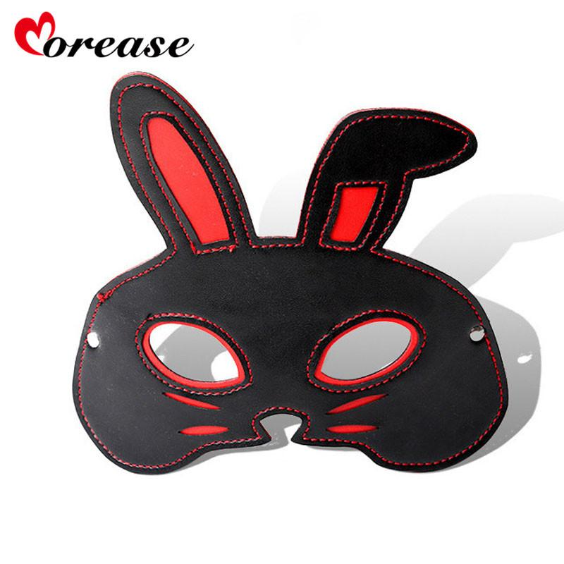Morease Rabbit PU Leather Sexy Eye Mask Patch Adult Games Flirt Sex Toy Bdsm For Couples Blindfold Bondage S924