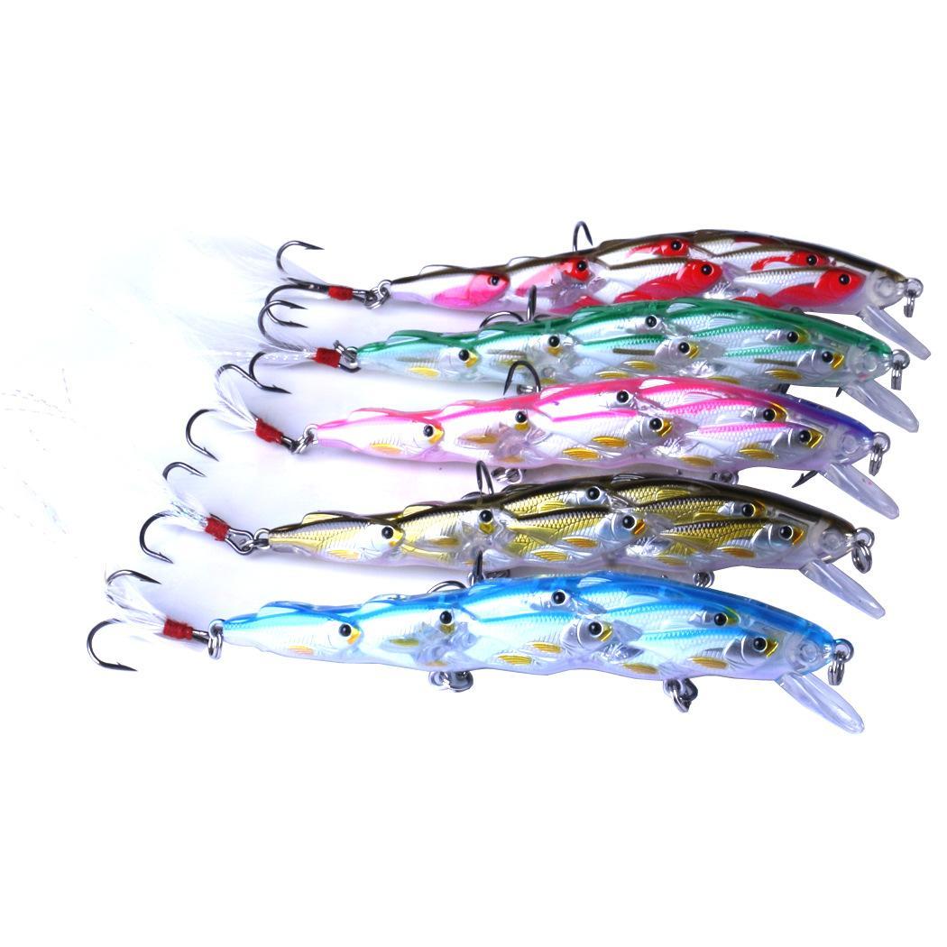 5 pezzi pesca esche d'acqua dolce gruppo pesci pesciolino esche da pesca in plastica per acqua dolce trota d'acqua dolce trota walleye salmone muschiato pesca
