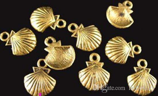 300 stks antiqued gold plt lined shell charms 11x14mm A412G