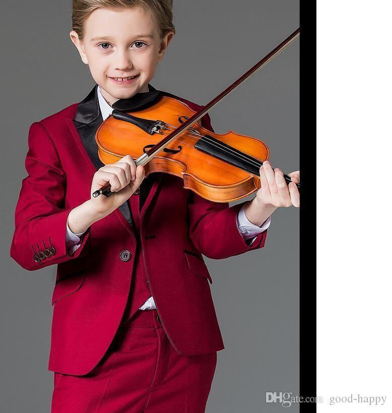 Nueva moda Red Boy Formal Wear Hermoso niño Kid Attire Wedding Apparel Blazer fiesta de cumpleaños traje de fiesta (chaqueta + pantalones + corbata + chaleco) 16