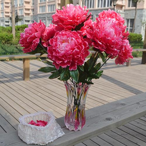 Wholesale-15cm Large Artificial Peony Cloth Flower Home Party Decor 5 Flowers on 1 Piece