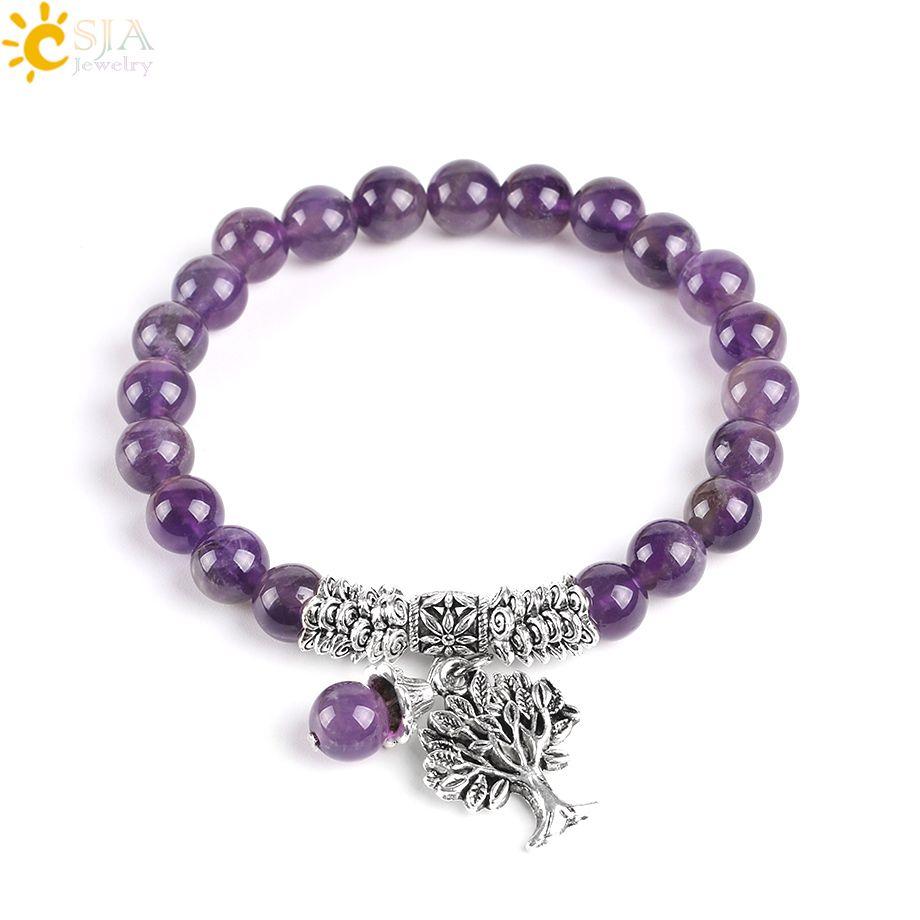 CSJA Natural Amethyst Gemstone Purple Quartz Bracelets Bangle Silver Tree of Life Prayer Rosary Mala Beaded Bracelet for Meditation E746