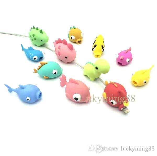 мода мультфильм рыбы дизайн мобильного телефона зарядный шнур протектор usb кабель мини держатель головы противоударный кабель укусы животных для телефонных кабелей