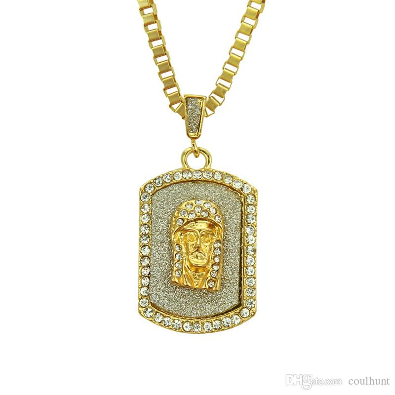 Bling Crystal Hip Hop Jesus Head Pendant Necklace Gold Color Jesus Face Religious Dog Tag Pendant Crystal Jesus Piece Jewelry