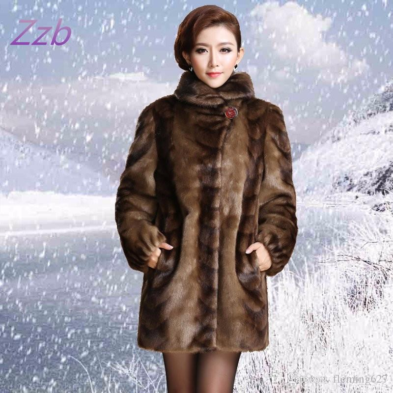New 2018 Europe style women's outerwear plus size clothing Imitation Animal fur top long design overcoat leather fur coat