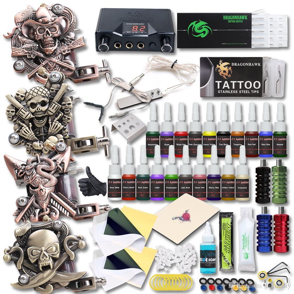 Completo 4 pcs relevo tatuagem máquinas tatuagem kit dupla fonte de alimentação 20 cores tintas agulhas apertas tatuagem conjunto
