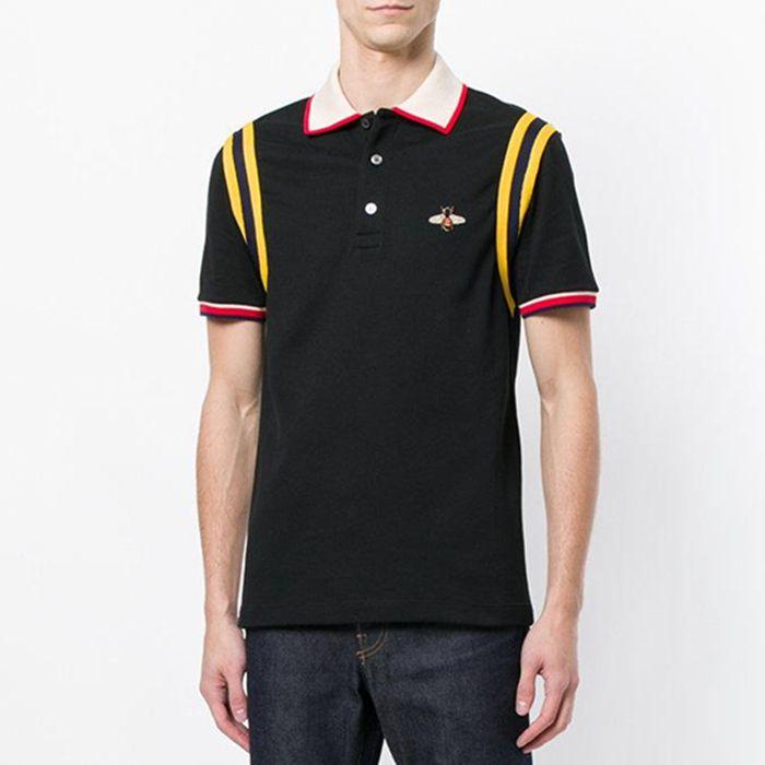 Новое прибытие вышивка пчелиный патч поло хлопок полоса футболка для человека Италия дизайн Марка контраст воротник рубашки мужчины мода ow poloshirt