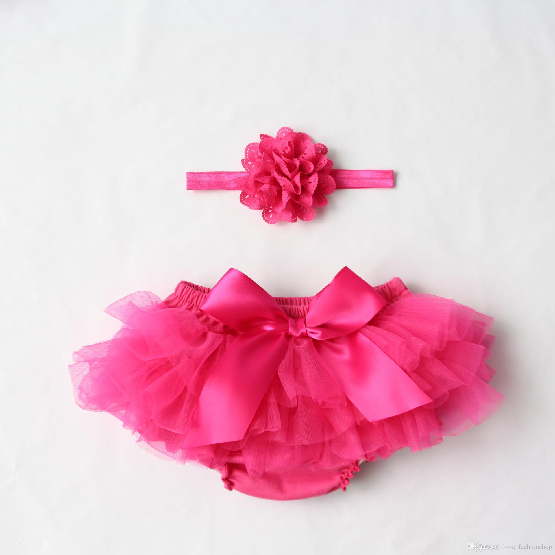 Mix 10 couleurs Baby Girls Mesh TUTU Bloomers Sets fleurs en tissu pantalon Bandeaux enfants Sous-vêtements pour bébés PP Vêtements pour enfants