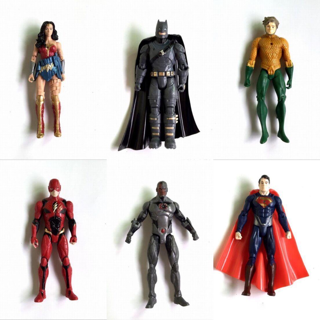승격 Lot6pcs / set DC Comics Justice League 슈퍼 히어로 원더 우먼 The Flash Batman 6inch 액션 피규어 TV 컬렉션 집 이동