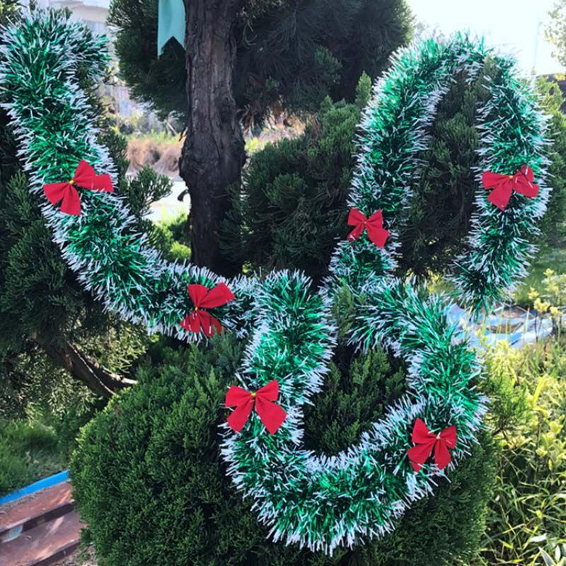 """REMISE!!! 2 m (78,7"""" ) Décoration de Noël Bar Tops Ruban Guirlande Ornement blanc noir vert de canne Fournitures Parti Tinsel"""