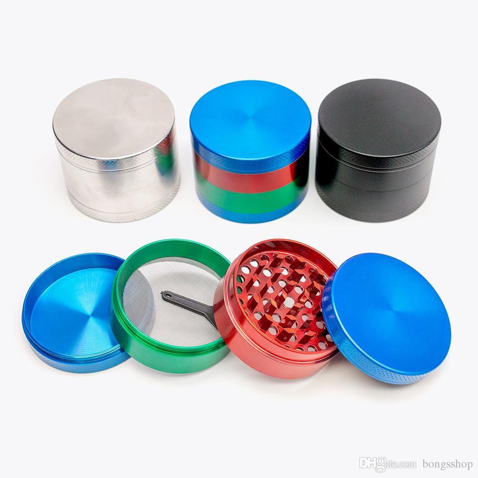 Smoking Black Pepper Grinder Metallo 55mm 4 Layer Zicn Ley Diametro Diametro colorato Smerigliatrici colorate per accessori per erbe asciutte