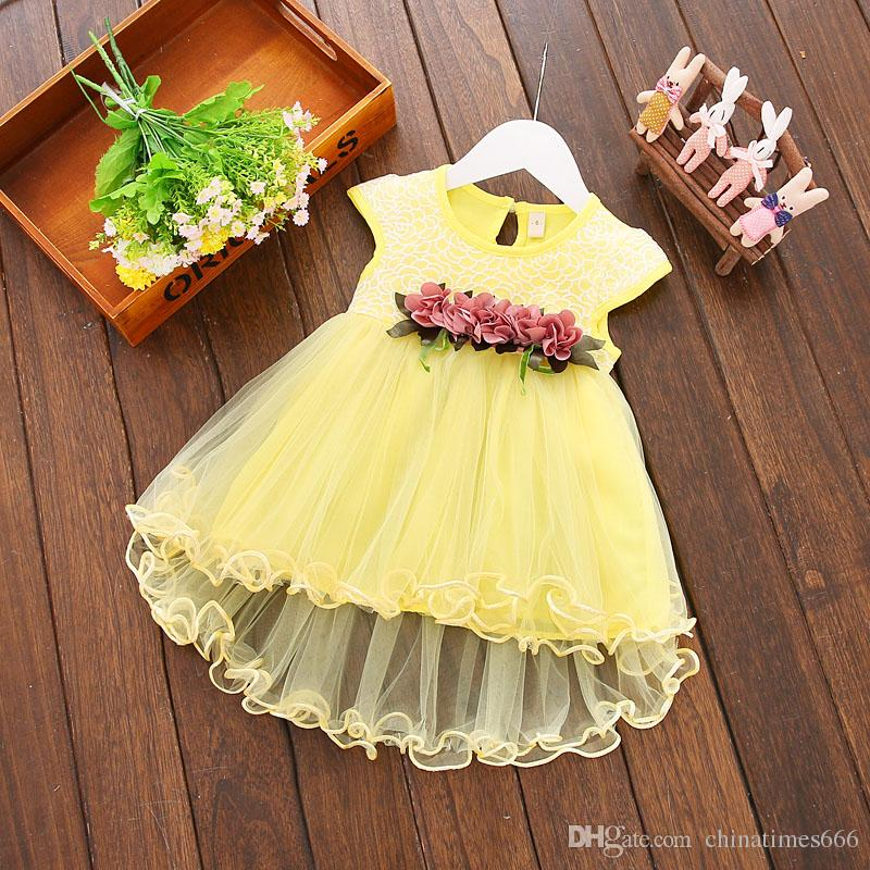 2018 Infant Kids Baby Girl clothes Summer Floral print Geometry round neck sleeveless cotton casual Princess Party Dresses one pieces