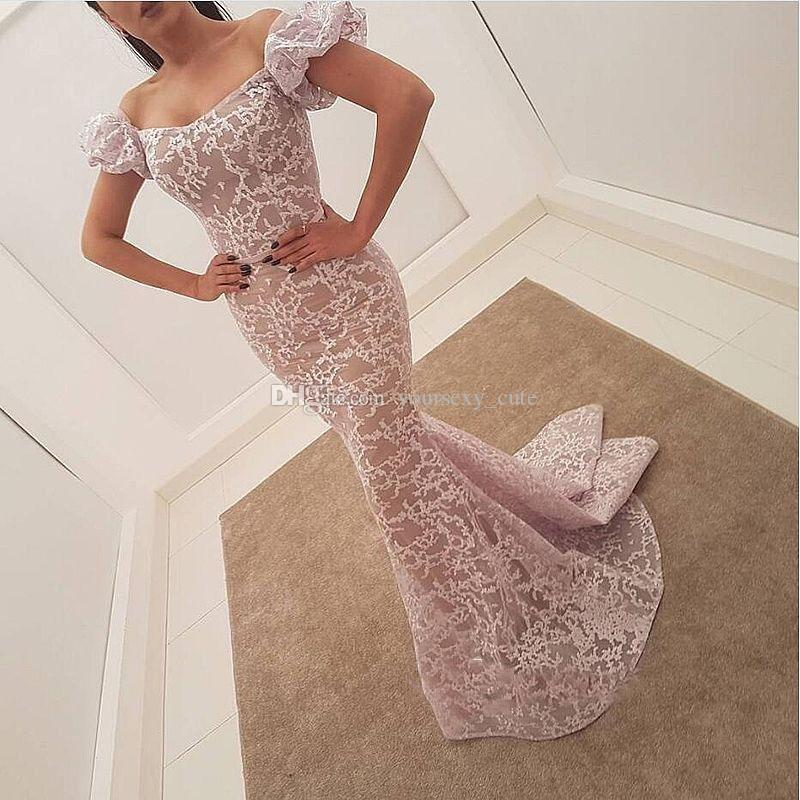 Lace Mermaid Evening Dresses Off The Shoulder Puffy Short Sleeves White Nude Saudi Arabic Prom Dresses Formal Party Dresses
