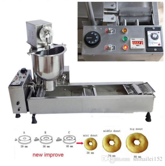 2018 Free Shipping Auto Commercial Donuts Manufacturer Donut Machine, Extensive Fuel Tank, 3 Sets of Die 110v / 220v Free Shipping