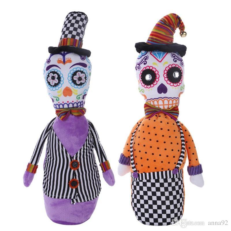 Halloween Dolls Boy Girl Stuffed Filling Cotton Sitting Skull Cloth Dolls Toy Props for Halloween Party Decoration Children Gift free ship