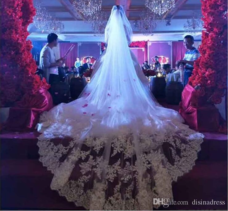 Applique Dentelle Bord De Mariage Longs Voiles Deux Couches Voile De Mariée Accessoires De Mariée Voile De Mariage Pas Cher avec Peigne