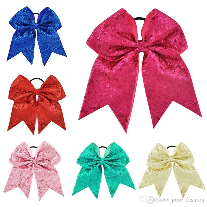 10PCS/LOT 27 Colors 7 Inch High Quality Girls Sequins Ribbon Cheer Bows Children Sweet Elastic Hair Bands DIY Large Hair Accessories
