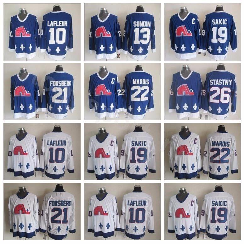 Homens Quebec Nordiques 21 Peter Forsberg Jerseys Hóquei 26 Peter Stastny 13 Mats Sundin 19 Joe Sakic 10 Guy Lafleur 22 Mario Marois