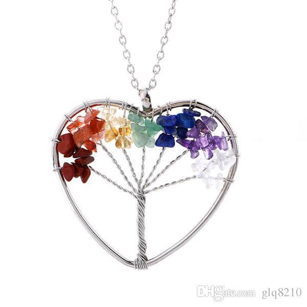 Мода Натуральный камень бутовый Дерево жизни ожерелье ручной работы 24pcs заказа Кристалл Фортуна дерево ожерелье свитер цепи Mix