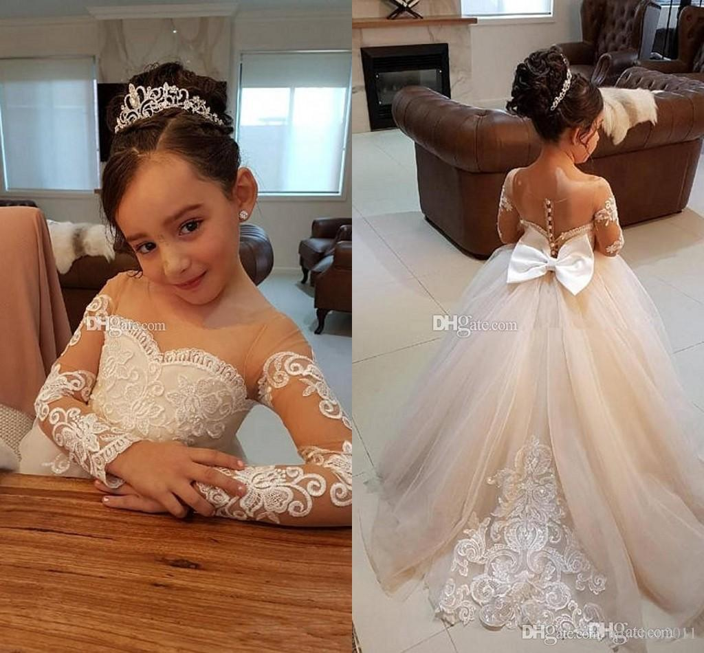 Elegante Ballkleid Blumenmädchenkleider für Hochzeiten Sheer Neck Long Sleeves Applique Spitze Tüll Kinder Brautkleider Mädchen Festzug Kleid