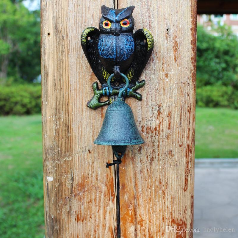 NEW~Cast Iron Owl Bell Patio Dinner BBQ Garden Door Porch Cabin Lodge Welcome Dinner Bell Metal Home Animal Decoration Country Doorbell Vtg