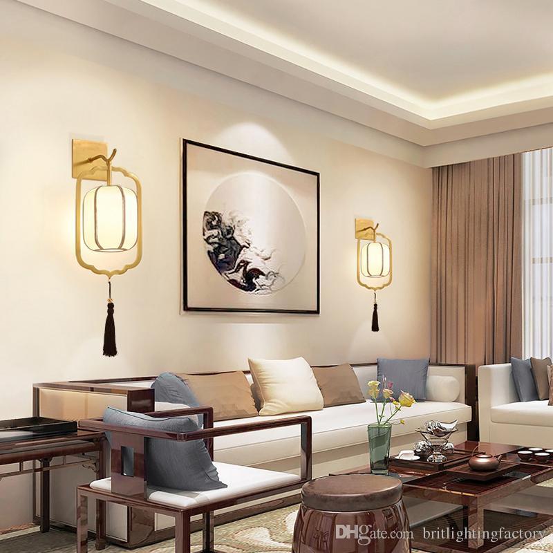 New chinois mur lampe Tous cuivre Aisle Escalier Lumières Chambre Bureau Chambre Murales Style Chinois Salon mur Lampe classique
