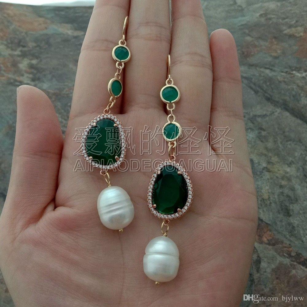 """36/"""" riz blanc perle verte cristal chaîne collier boucles d/'oreilles Set"""