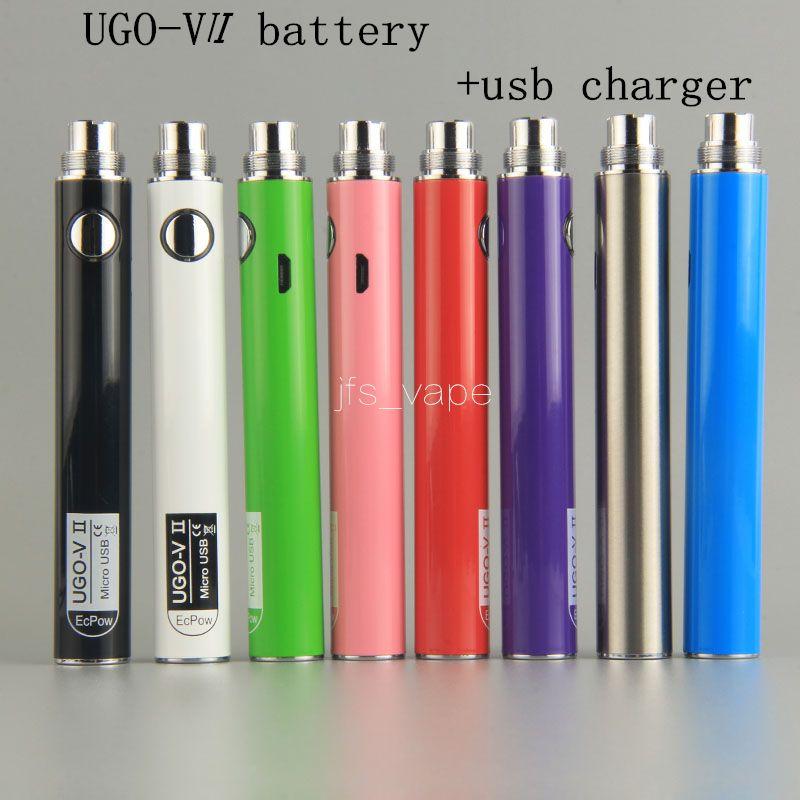 Ugo-V II 650 900mAh UGO 510 Thread-Batterie Micro-USB-Pasthrough-Ladung mit Kabelverdampfern E Cigs o Pen-Vape-Batterien