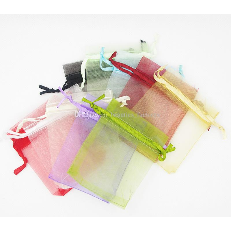100pcs organza borse coulisse sacchetti gioielli sacchetti regalo wrap wedding natale festa convizio borsa da imballaggio 7x9 cm (2.75x3,5 pollici) multi colori