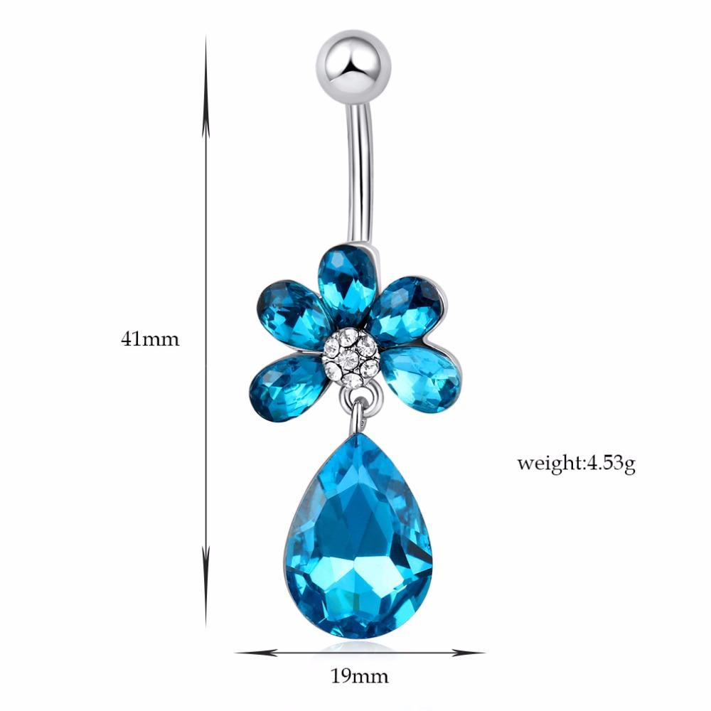 OAIITE Fashion Belly Button Rings Sexy Flower Silver Plated Blue Crystal Navel Piercing Body Jewelry Bikini Accessories P0070