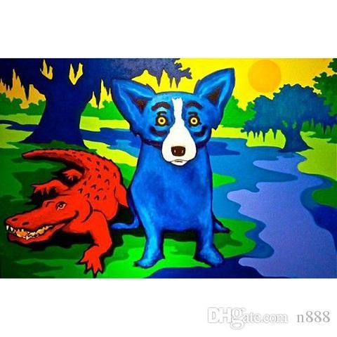 Großer Handbemalte HD-Druck George Rodrigue Tier Blue Dog-Kunst-Ölgemälde-Wand-Kunst-Ausgangsdekor auf Leinwand, Multi Größen / Rahmenoptionen A174