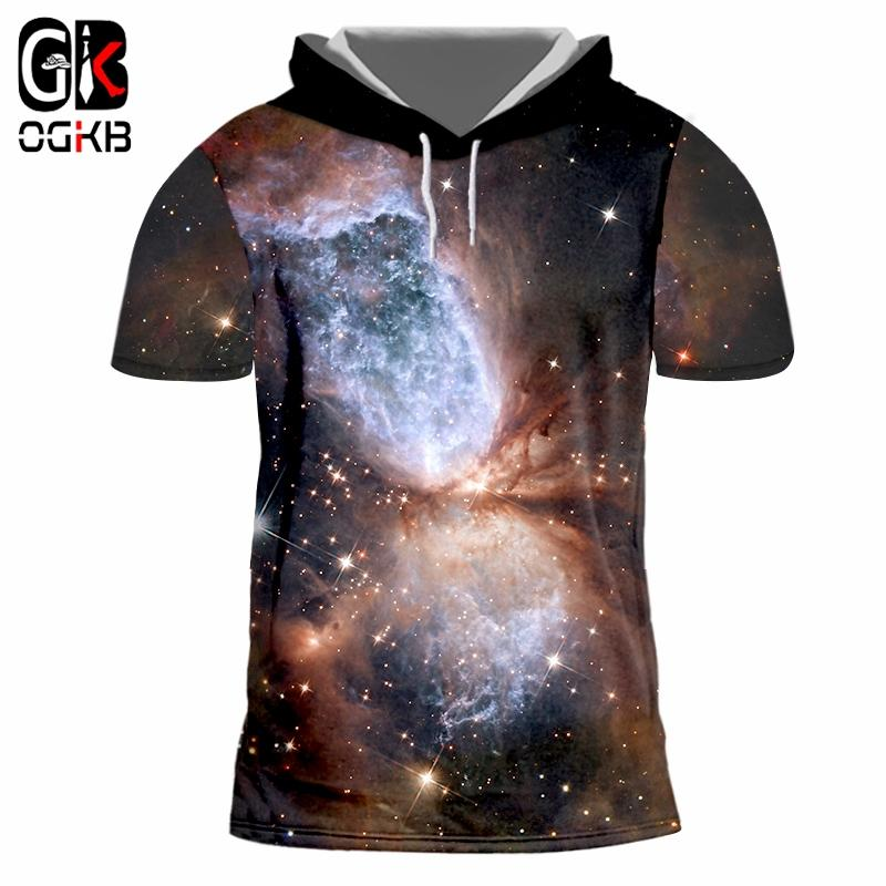 OGKB Hooded T Shirts Man Short Sleeve 3D Print Starry sky Handsome Plus Size 5XL 6XL Tops Tees Unisex Spring Hoodie Tshirt