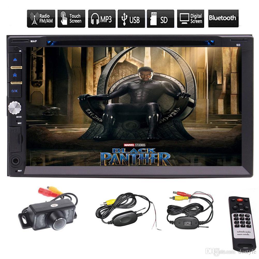 """Câmera de Visão Traseira + 7 """"Duplo Din Touchscreen No Traço Do Carro Receptor de Áudio Estéreo de Áudio do carro do carro DVD Player de CD Rádio AM FM RDS MP3"""
