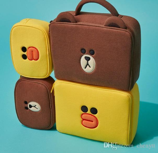 مستحضرات التجميل حقيبة التخزين كوريا لطيف الدب الصغير كبير المحمولة قدرة كبيرة فتاة القلب الإضافية لينة فتاة حقيبة مستحضرات التجميل