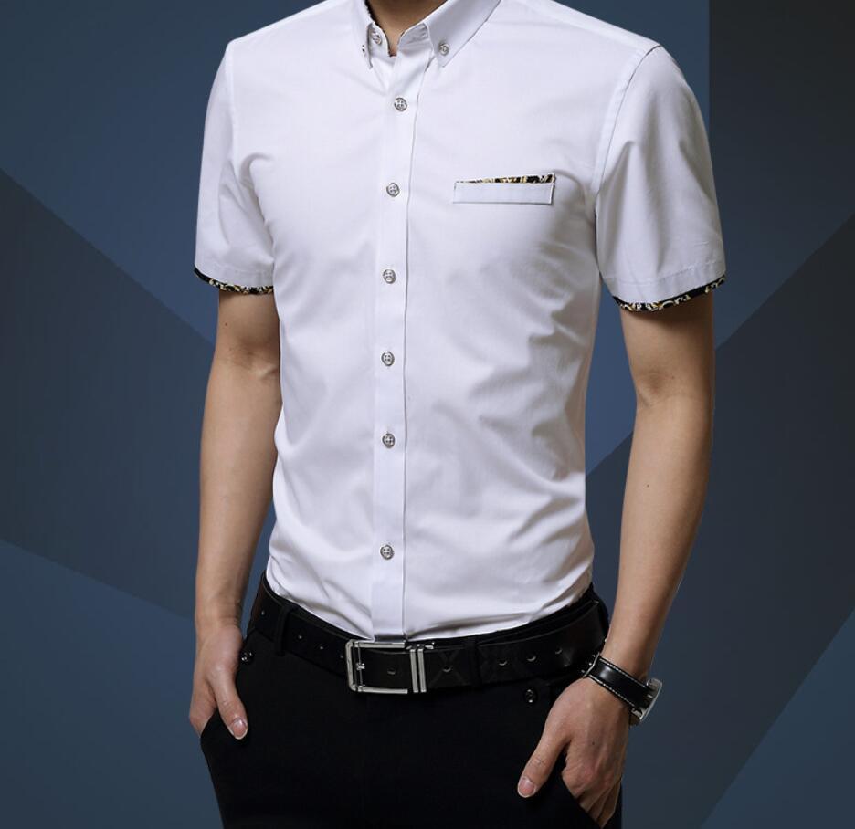 Hemd des Sommers 2018 der neuen Männer der Männer Kurzhülse Hemd der Männer dünnes beiläufiges Geschäfts-koreanisches Hemd geben Verschiffen frei
