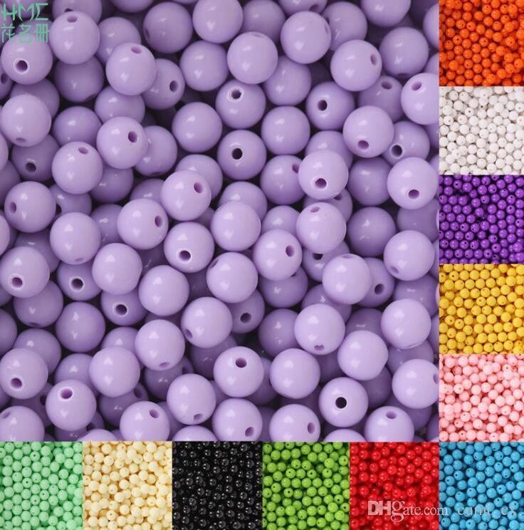 8mm 100 pcs Plástico Acrílico Beads Rodada Suave Solta Spacer Beads Artesanato Decoração para DIY Pulseiras Colares Fazer Jóias