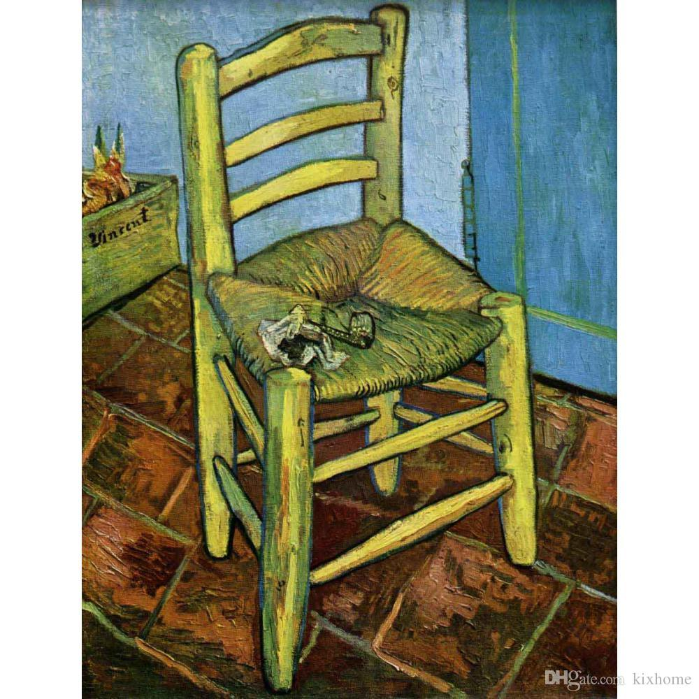Hand painted canvas art Vincent Van Gogh Paintings Chair with Pipe for wall decor