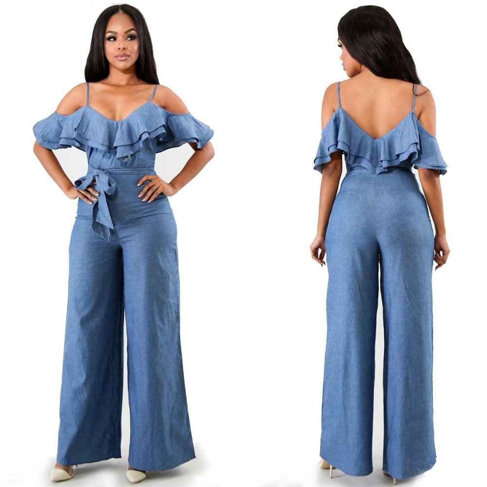 Spaghetti Strap V Neck Long Denim Rompers Women Cold Shoulder Short Sleeve Ruffles Sashes Wide Leg Jumpsuit Blue Jeans Overalls